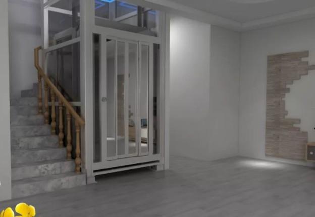 已经装修完工的别墅家用电梯的效果图