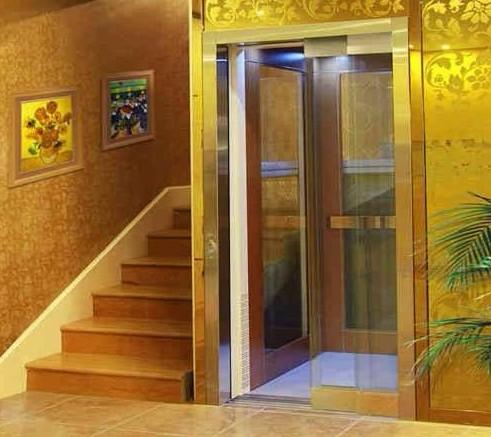 金黄的别墅家用电梯很惹眼